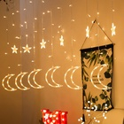 eid mubarak ramadan decorations moon and star shape led curtain light Christmas lights Decorative lights with factory prices