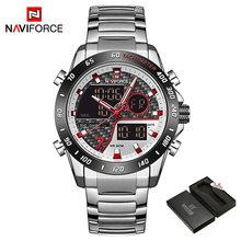 NAVIFORCE мужские часы, новые модные полностью Стальные кварцевые наручные часы, мужские LED двойной дисплей водонепроницаемые мужские часы Relogio ...(China)