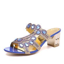 Женские шлепанцы с кристаллами в богемном стиле, летние модные блестящие шлепанцы с открытым носком и стразами, пляжная обувь с вырезами, но...(Китай)