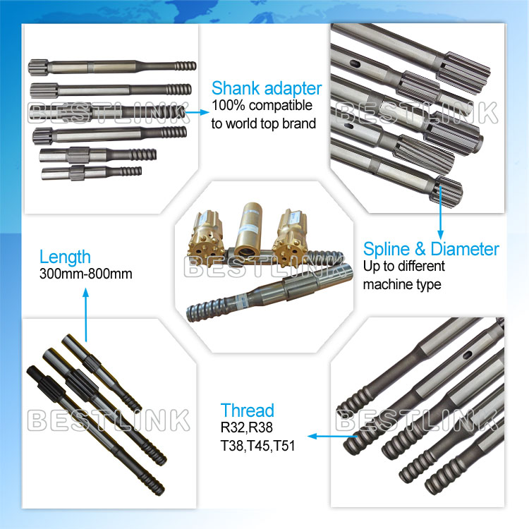 Forged / Carburized Shank Adapters Mining Drill Rods Carbon Steel Material