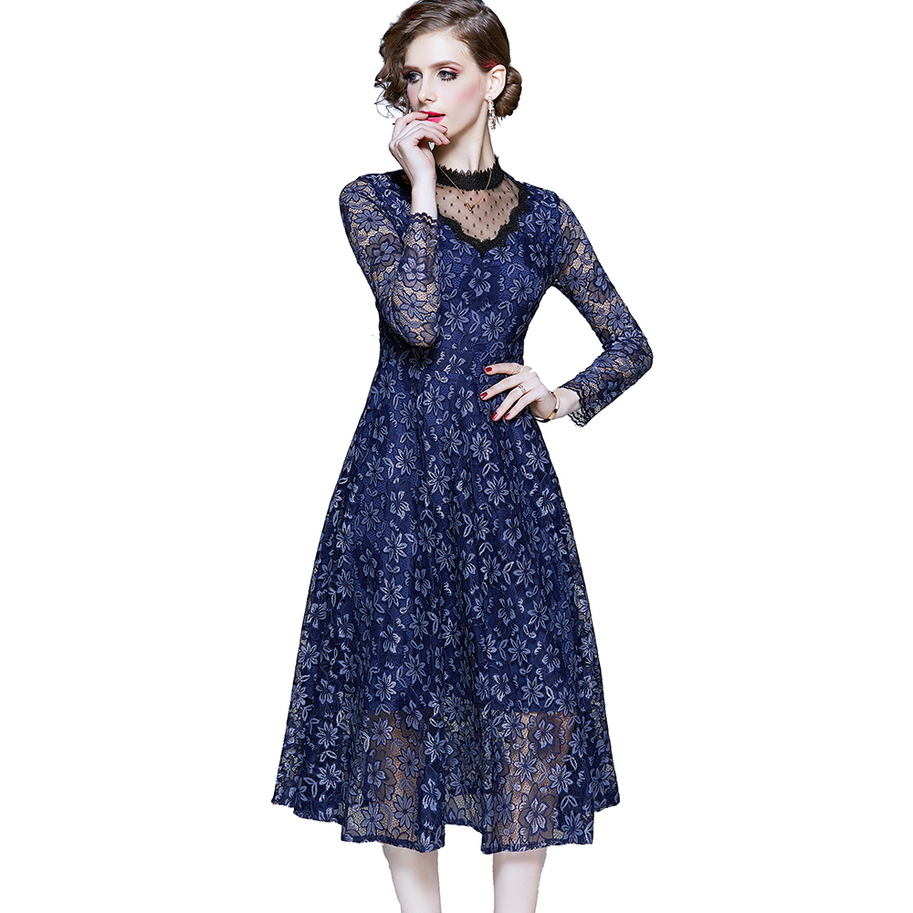 Wholesale Sexy Elegant Patchwork Collar Floral Pattern <strong>Lace</strong> Dress <strong>Women</strong> <strong>Clothing</strong>