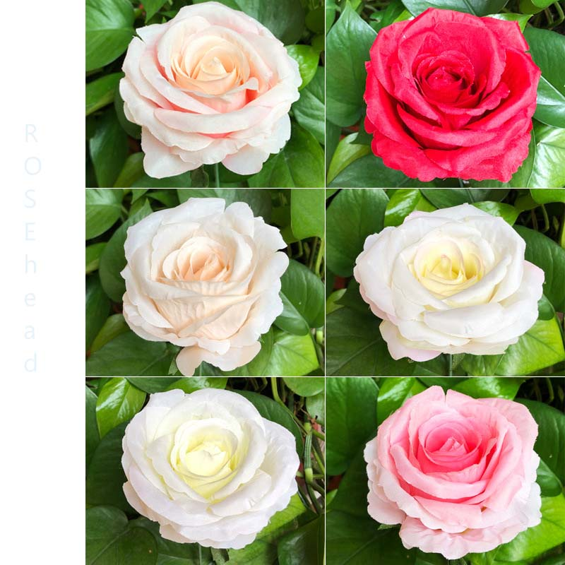 Factory direct sale 4inch silk <strong>rose</strong> <strong>head</strong> background decoration artificial flowers <strong>rose</strong> <strong>head</strong>