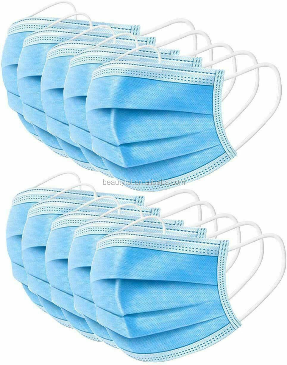 face mask 10-3Layers Dustproof Disposable Personal Protective Face Mask with Earloop Non Woven In Stock