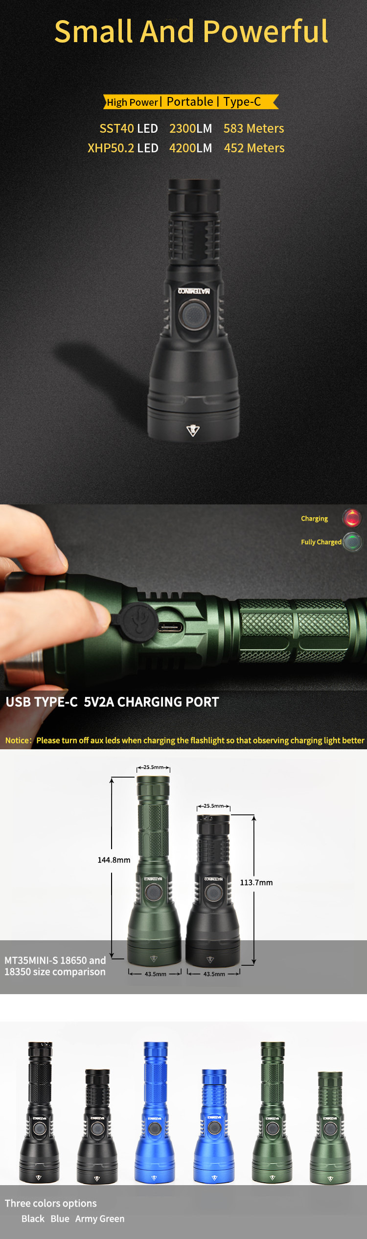 Mateminco MT35mini-S Cree XHP50.2 4200lm SST-40 USB Type-C Rechargeable Long Range Led Flashlight for Camping, Hunting