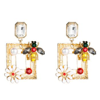 Exaggerated Female S925 Silver Needle Earring Square Alloy Gold Plated Enamel Flower Floral Acrylic Diamond Bee Drop Earrings