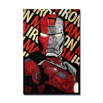 Marvel Super Hero Iron Man Portrait cartoon poster canvas giclee wall art printed Painting for kids bedroom decorative