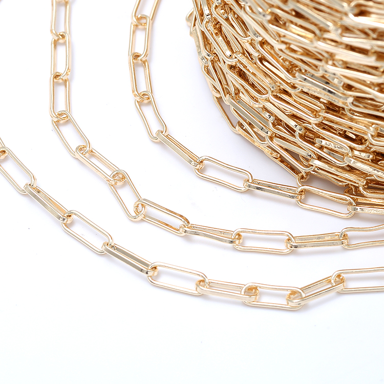 Factory Wholesale New Arrival 14K Gold Plated Paperclip Link Chain for Jewelry Making