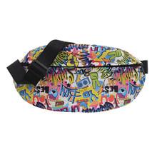 Повседневная нагрудная сумка для женщин и мужчин, классический дизайн, креативный дизайн, для отдыха, PU, граффити, кошелек, Fanny, талия, улична...(Китай)