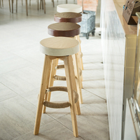 Bar Stools Furniture Restaurant Nordic Rustic Solid Kitchen Cheap High Counter Fabric PU Leather Swivel Wooden Modern Bar Stools