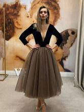 Smileven сексуальные черные платья с v-образным вырезом 3/4 с длинным рукавом, вечерние платья из тюля длиной до щиколотки, коктейльные платья(Китай)