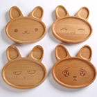 100% Nature Bamboo Baby  Divided Plate For Kids Dinnerware Set Bunny Plates/