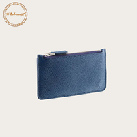 Slim Wallet PU Leather Men's Card Holder Case With Zip Pocket