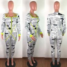 HAOYUAN, сексуальный, газетный, с буквенным принтом, Облегающий комбинезон, для женщин, Рейв, одежда, боди, клубный наряд, цельный, с длинным рука...(Китай)