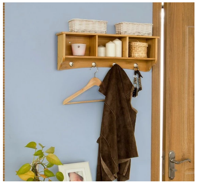 Entryway Wall Mount Bamboo Storage Shelf With 4 Pcs Clothes Hanger