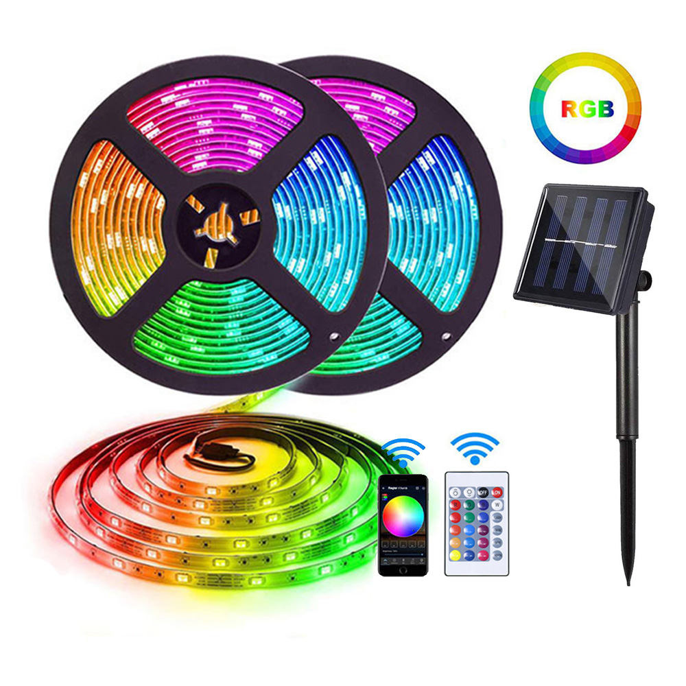 outdoor solar battery powered smart aluminum profile waterproof 5050 rgb led strip lights with motion sensor