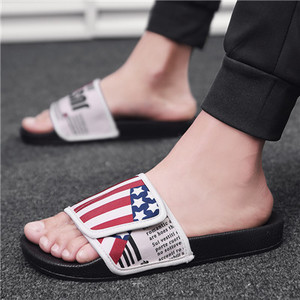 Fashion slippers sandals tide shoes summer English letter flag men's shoes