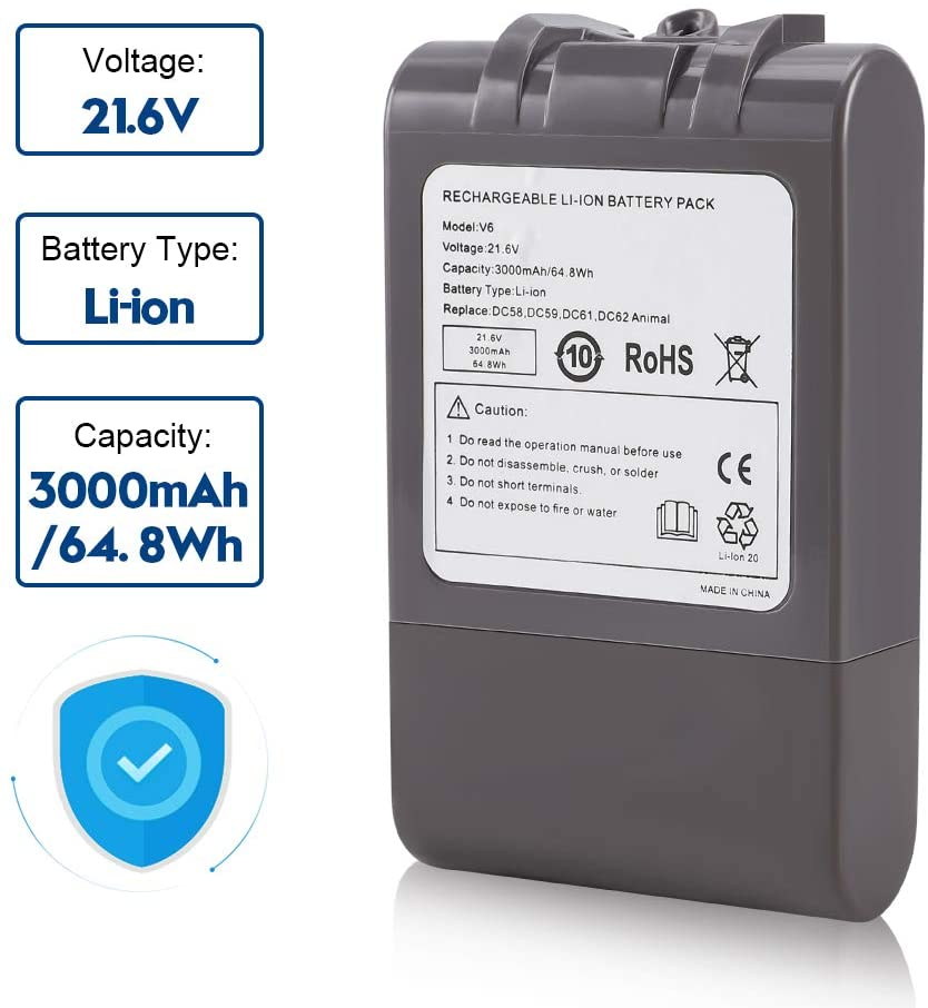 2200mah 22.2v li-ion battery for Dysons vacuum cleaner DC34 ,DC35,DC 44,DC 45 type B