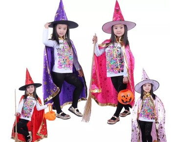 Cosplay Halloween Capes Children Perform Costume a Wizard's Five Star Capes and Cloaks High Cap Set