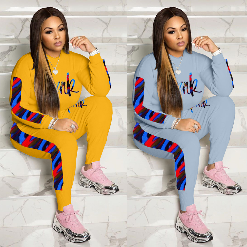 FM-Y5146  Factory Autumn winter lady outfits long two piece letter printed skinny clothing  for women