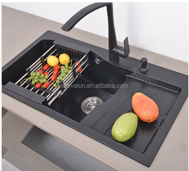 Guangzhou eco-friendly artificial stone black kitchen sink  artificial quartz double bowl  kitchen sink