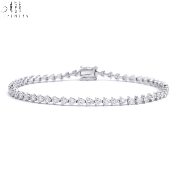Most Popular Tennis Bracelet Jewellery 18K Solid White Gold Real Diamond Bracelet For Lady