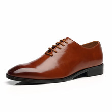 2020 Мужская обувь; Британский деловой костюм; Мужская парадная обувь; лоферы на плоской подошве со шнуровкой; вечерние, свадебные туфли-оксфо...(China)