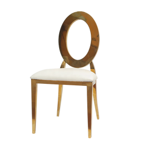 Round hollow back gold stainless steel wedding chair for reception