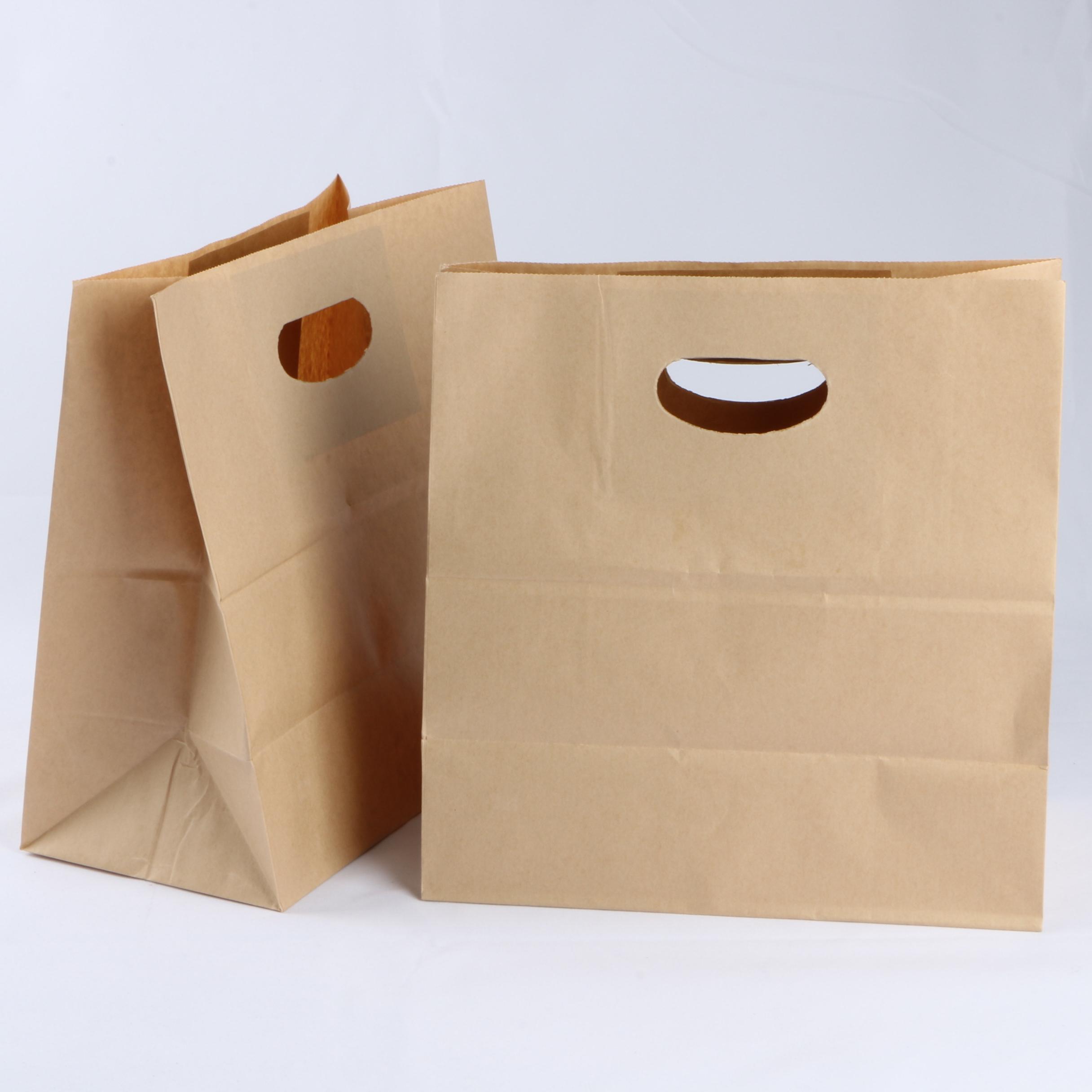 سبائك مخصصة قطع كيس من الورق البني كرافت هدية حقائب تسوق ورقية