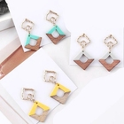 Creative hollow dumb gold square earring jelly colored patchwork wood earrings