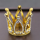 Kids Mini Crystal Alloy Crown Gold And Sliver Birthday Party Rhinestone Crystal Tiara Crown For Baby Hair Decorations