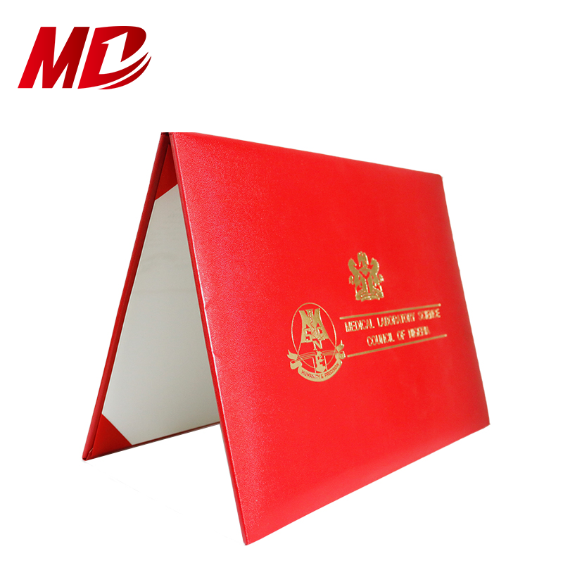 Smooth Leather Diploma Covers Cardboard Certificate Holders 8.5