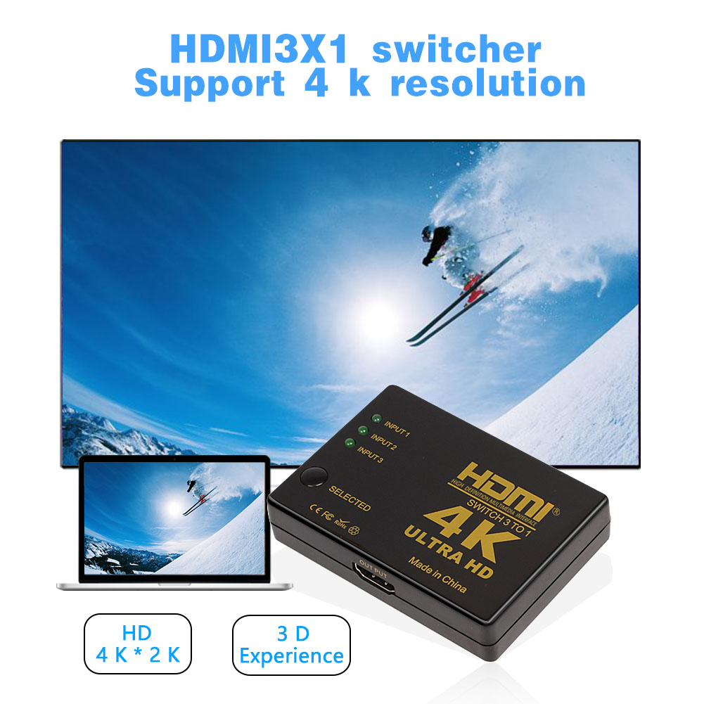 Factory Supply HD 4K HDMI Video Switcher 3 port for TV Monitor Projector