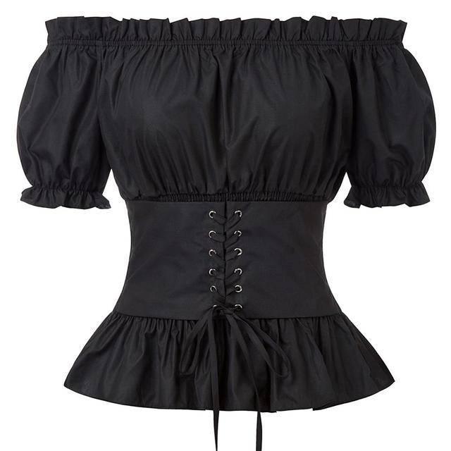 Womens Chiffon Shirt Renaissance Short Sleeve Off Shoulder High-Low Tops