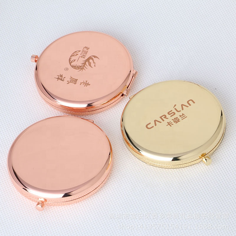 Rose Gold Portable Mini Cosmetic Beauty Salon Compact Mirror With Logo, Rose gold;silver;gold;brown