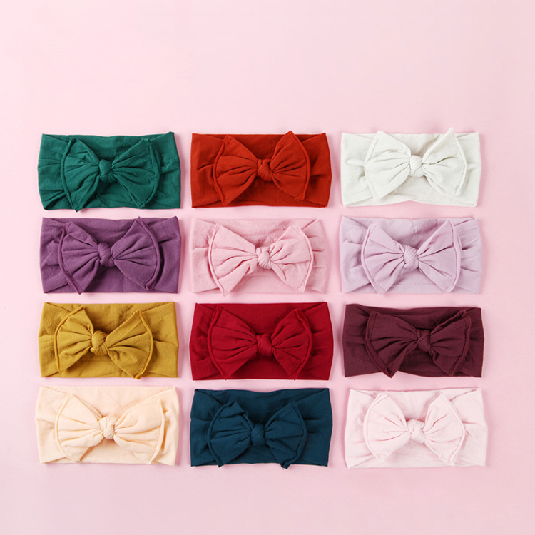 Newborn baby girls bow knot hair accessories headwrap, plain solid soft elastic wide nylon bow headbands