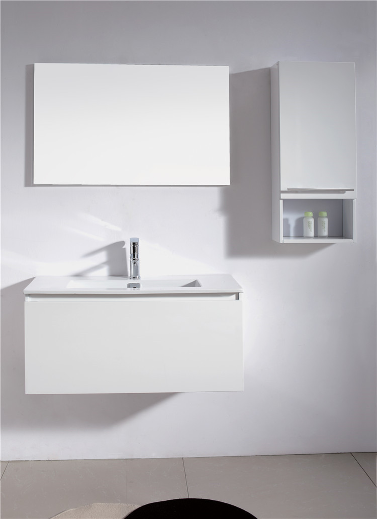 MDF High Glossy White Finish Bathroom Sink Vanity Unit White Image And Linen Cabinet Sets