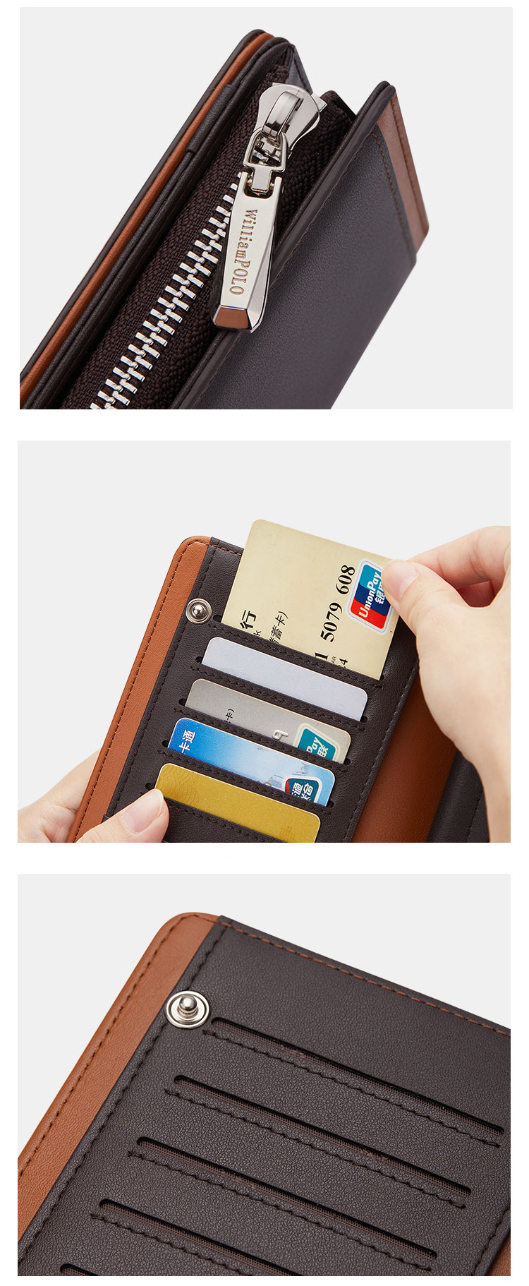 Custom Wholesale Fashion Business Cow Leather Card Holder Wallet for man Purse Clutch bag Long Wallet Men