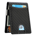 Slim Minimalist Carbon Fiber Wallet Fashion Men's Bifold RFID Blocking PU Leather Money Clip Wallet