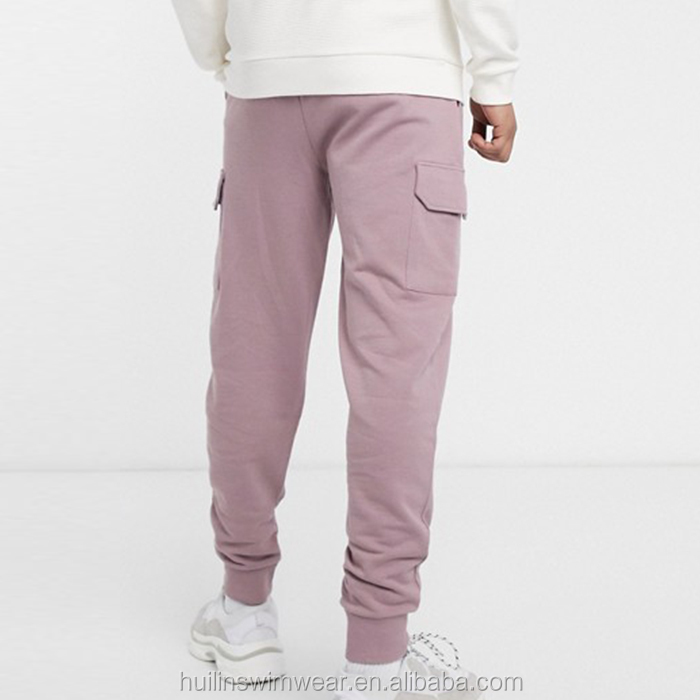 New fashionable custom 100% cotton plain pink tapered sweatpants men