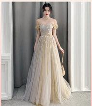 Новинка 2020 года; стильное длинное элегантное платье подружки невесты для выпускного вечера; вечернее платье с кружевной аппликацией; Robe De ...(China)