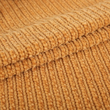 TR polyester rayon spandex hacci dobby rib knitted sweater microfiber chenille fabric in roll for garment