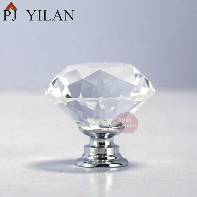 Diamond Crystal Glass Clear Cabinet Knob Drawer Pull <strong>Handle</strong> Kitchen Door Wardrobe