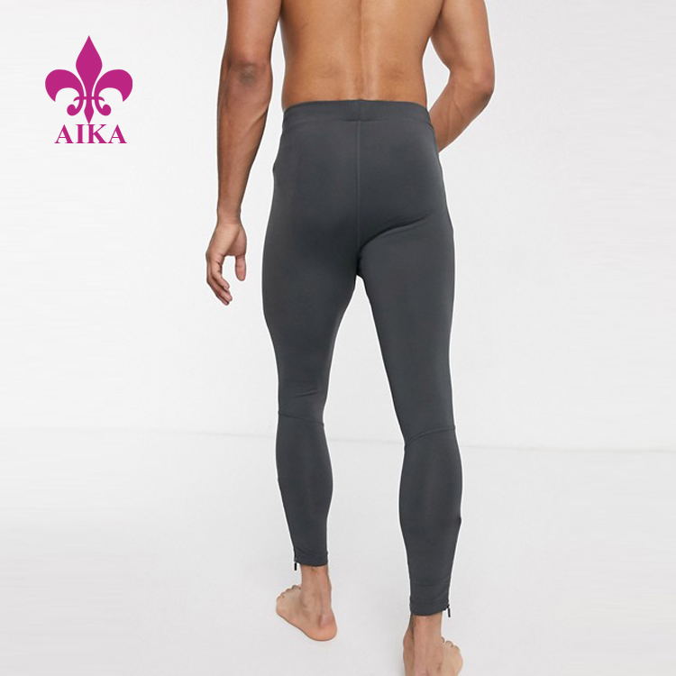High Quality Custom Breathable Compression Lightweight Zip Men Running Tight Leggings