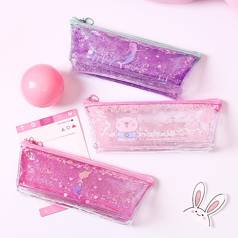 Creative Pencil Stationery bag Girls shinny pink mermaid printed pencil case glitter