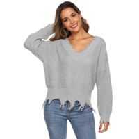Women's Deep V-neck knit pullover with irregular tassel long sleeve sweater for women