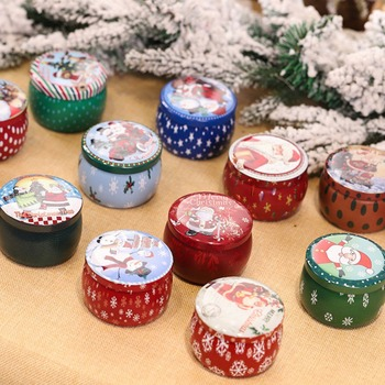 Hot Retro Tinplate Candle Cute Christmas Candle Smoke-free Christmas Decoration Festive Party Supplies