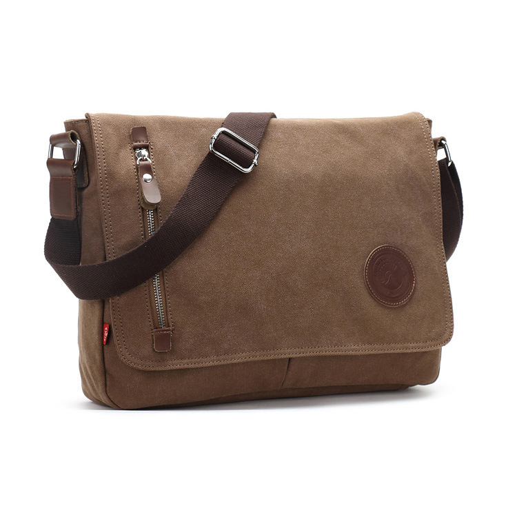 Wholesale custom trendy mens matte canvas shoulder messenger bag