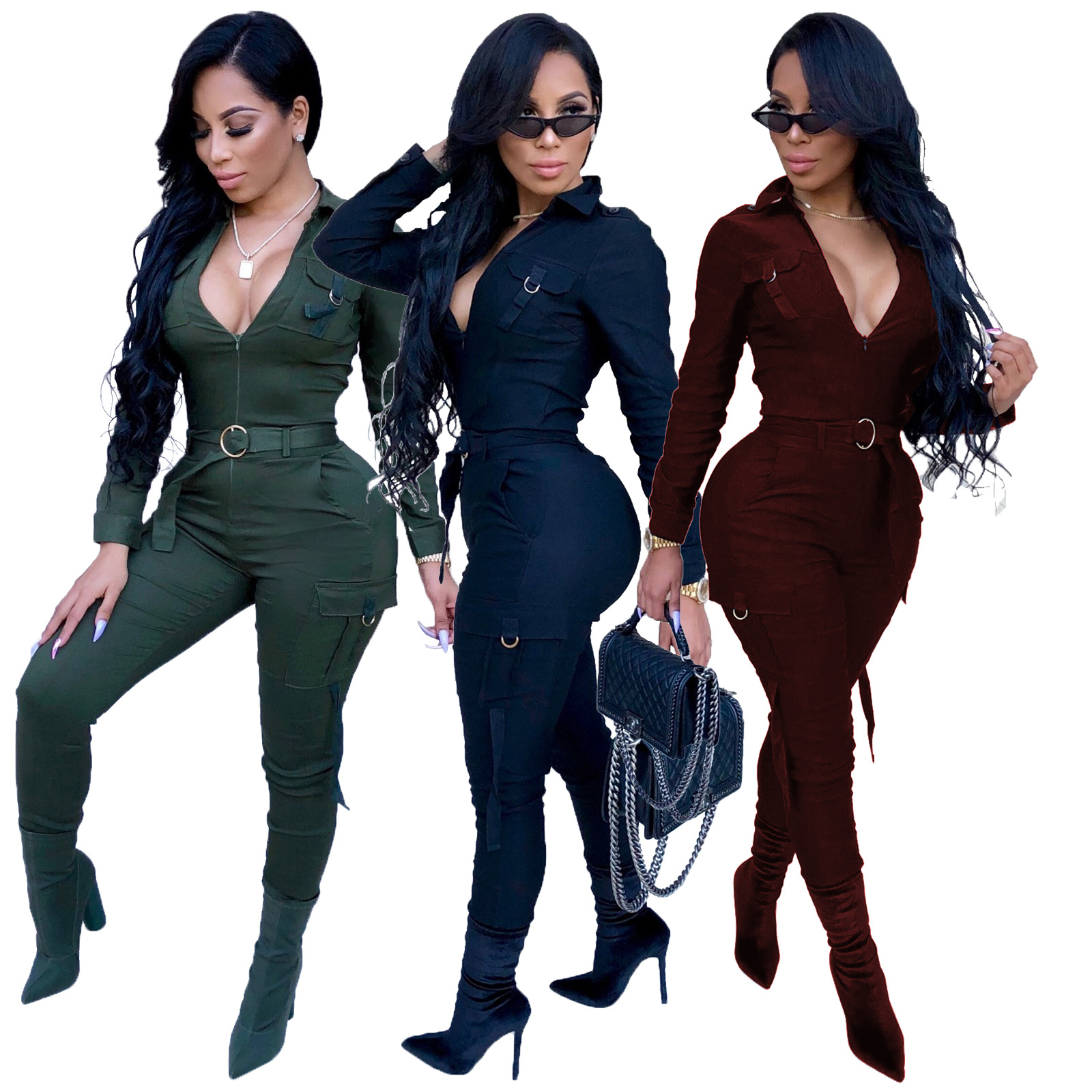 Popular Fashion Sexy V-neck Long Sleeve Clothing Two Pieces Black Sports Hoodie Jumpsuits Women