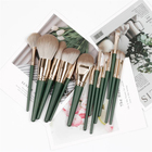 Wholesale brand Green bulk eye shadow cheap14pcs foundation luxury professional cosmetic your own brand makeup brush set