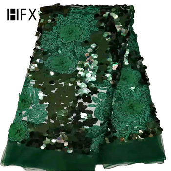 HFX Latest green lace fabric African sequins 3d flower lace embroidered fabric for women wedding party dress